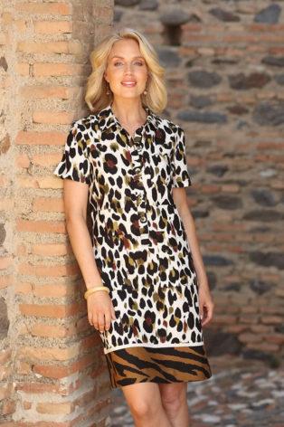 Pomodoro Zebra Border Safari Linen Dress – Leaf