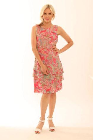 Pomodoro Romantic Paisley Sleeveless Dress – Rose