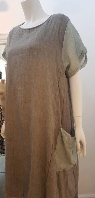 Made In Italy – One Size Dress – Grey & Sage
