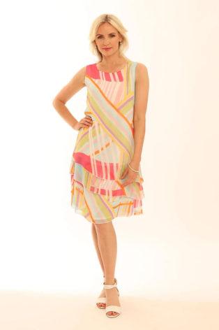 Pomodoro Geometric Sleeveless Dress – Turquoise
