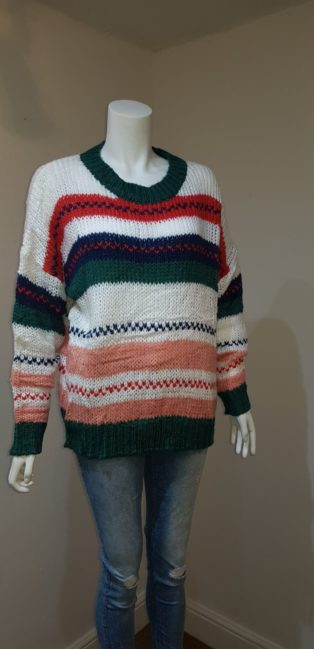 Luzabelle – Striped Knit – Green, Red, Navy, White & Pink