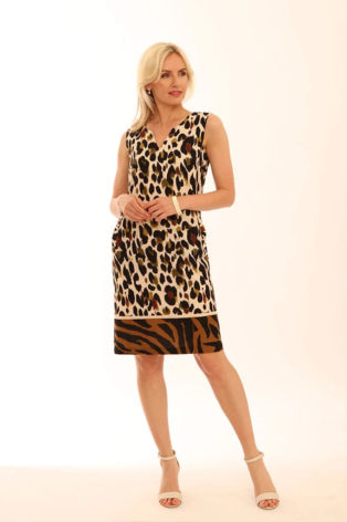 Pomodoro Zebra Border Linen Dress – Leaf