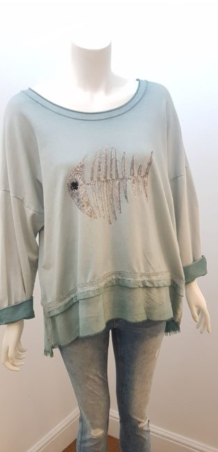 Diverse – Fishbone Sweatshirt Distressed Jade