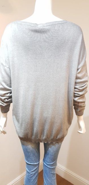 Diverse – V.Neck Fine Knit with Silver Heart – Grey