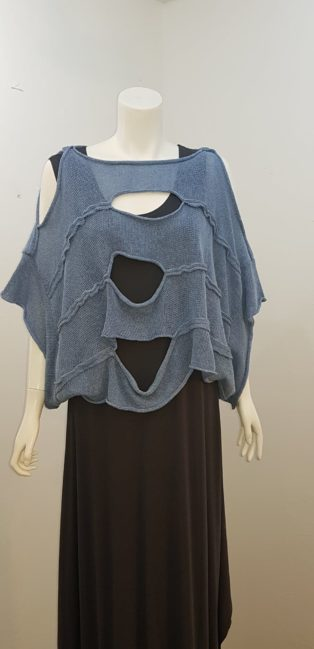 Cover-Up – Short Slightly Cropped Top with Cut Outs – Blue