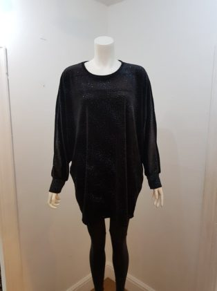 Made In Italy – Velvet Tunic – Black with Blue Sparkle
