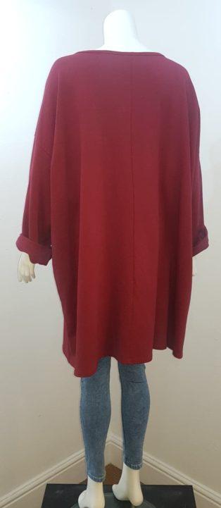 Diverse – Oversized Diamante Star Sweat Dress or Tunic – Burgandy
