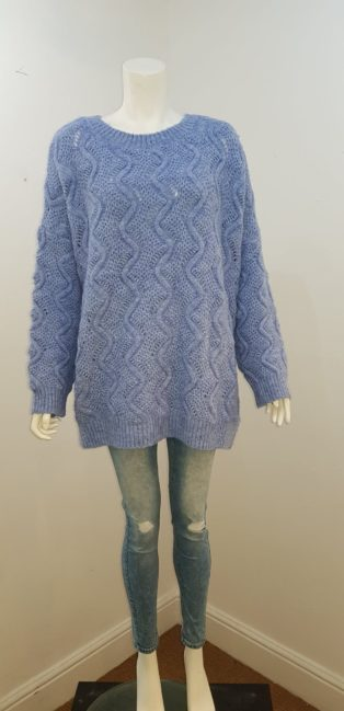 JCL – Oversized  Chunky Knit Sweater – Baby Blue
