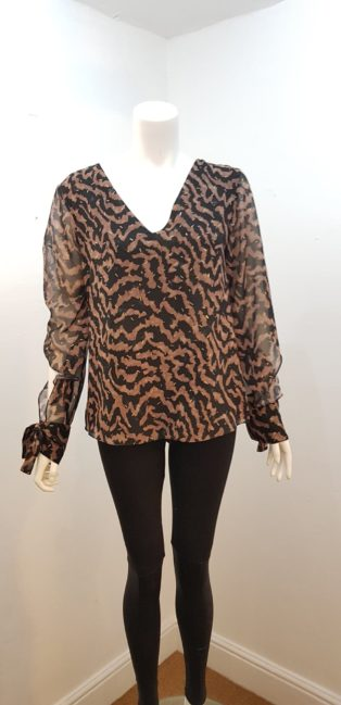 Explosion – Cut Out Sleeve Top – Black with Brown & Gold