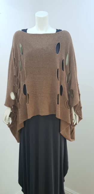 Cover-Up –  Oversized Poncho Style Loose Knit – Cognac