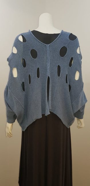 Cover-Up – Poncho Style Loose Knit – Blue