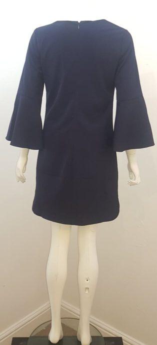 F & P – Trendy Lace Up Neck Dress – Navy