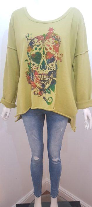 Studio – Skull Sweatshirt – Lime Green