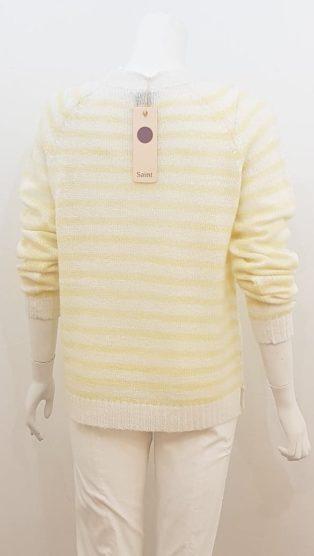 Saint Tropez – Striped Knitwear – White with Lemon