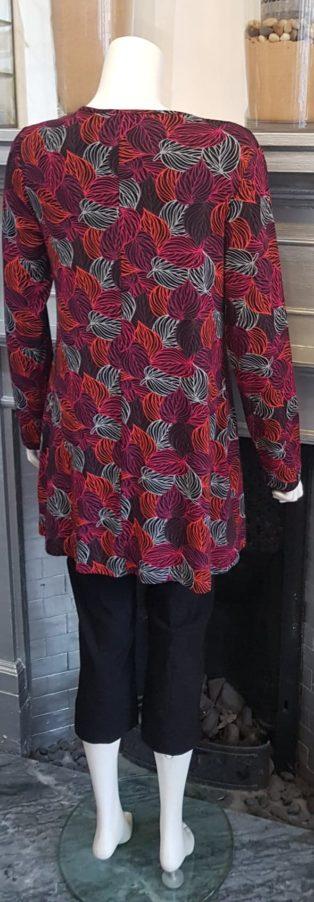 Capri –  Leaf Pattern Tunic – Raspberry