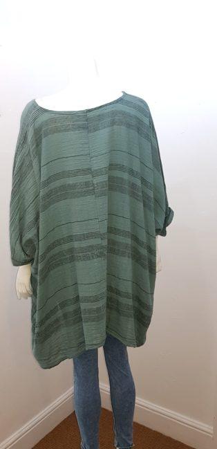 Diverse – Stripe Linen Top – Jade