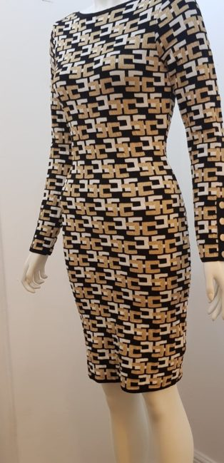 Made In Italy – Allyson Dress – Black & White with Gold