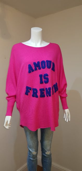 "Laetitia Mem – ""Amour Is French"" Jumper – Cerise Pink"