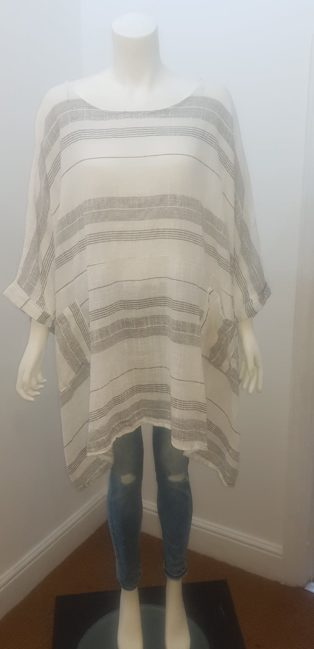 Diverse – Stripe Linen Top – White