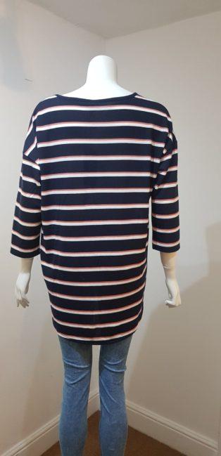 Vero Moda – Malena-Kathy Knit – Navy with Pink & White Stripe