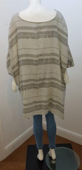 Diverse – Stripe Linen Top – Grey