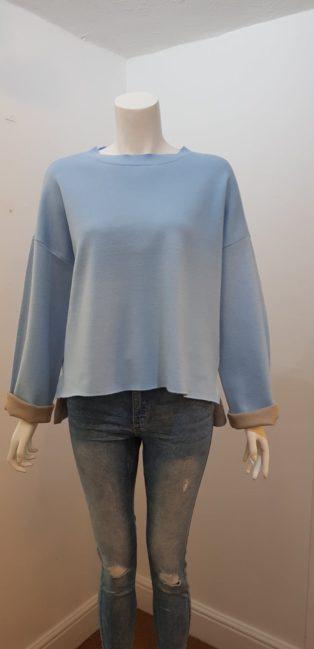 Vero Moda – Turtleneck Double Knit Top – Placid Blue with Mink