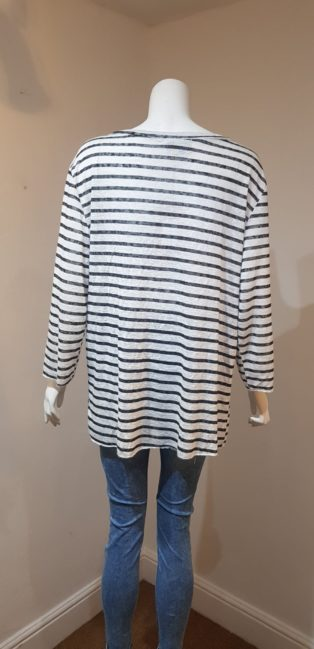 April Vintage – Deep V.Neck T.Shirt – Black & White Stripes