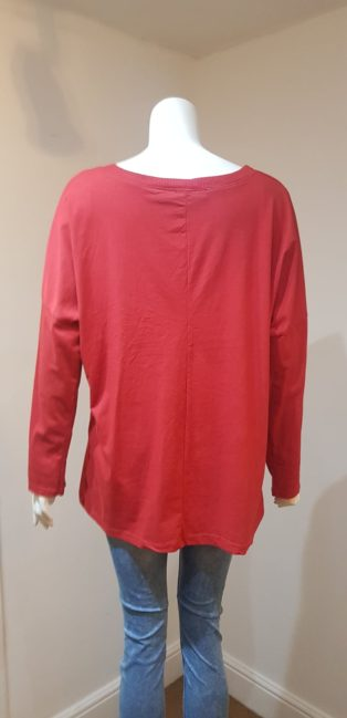 April Vintage – Wide Neck Long Sleeve T.Shirt –  Red