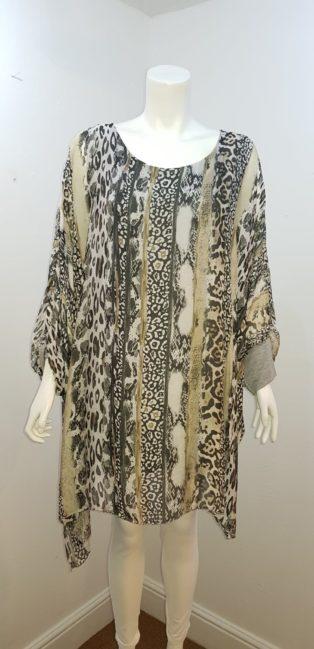 Diverse – Loose Kaftan Style Tunic -Grey/Sage Animal Print
