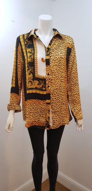 NB Avenue- Leopard & Gold Blouse – Gold, Black & Cream