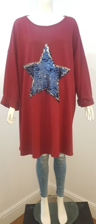 Diverse – Oversized Diamante Star Sweat Dress or Tunic – Burgandy