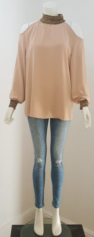 Capsule – Cold Shoulder, High Collar Blouse – Nude