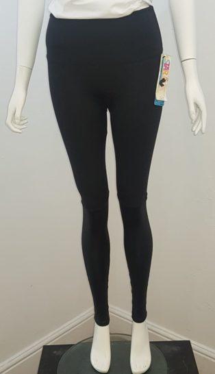 Spanx – Contrast Leather Look Leggings – Black