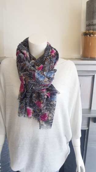 Pia Rossini – Paisley Print Scarf – Blue & Pink Mix