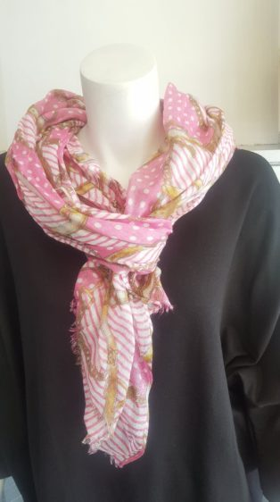 Pia Rossini – Scarf – Pink, White & Tan