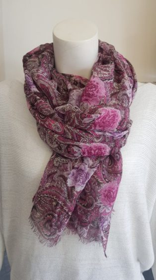 Pia Rossini – Paisley Print Scarf – Pink & Lavender Mix