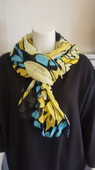 Pia Rossini -Scarf – Lemon Print with Turq, Black & Yellow