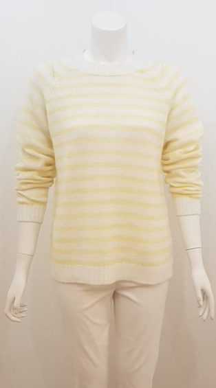 Saint Tropez – Striped Knitwear – White with Lemon