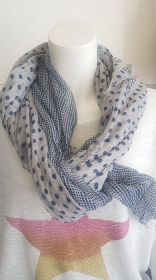Reevo – Scarf – Navy & Grey Spots & Checks