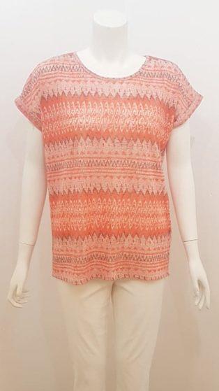 Soya Concept – Aretha Aztec Print T.Shirt – Coral