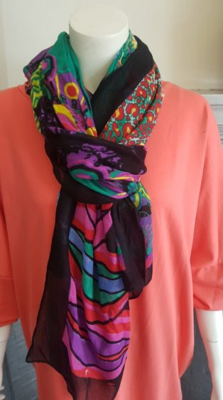 "Pia Rossini – ""60's Print"" Scarf – Mix of Vibrant Colours"