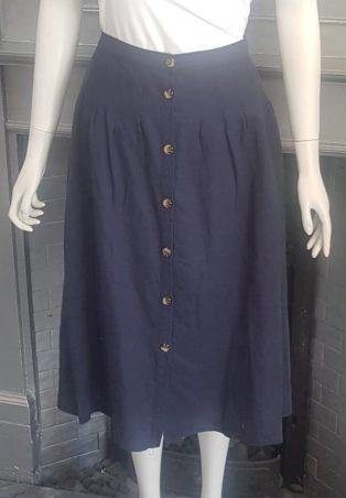Great Plains – Linen Button Thru Skirt – Navy