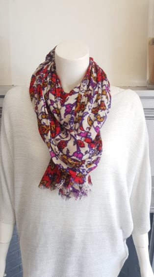 Pia Rossini – Flower Print Scarf – Stone with Red, Purple, Mustard & Mauve