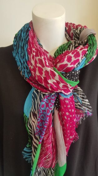 Pia Rossini – Scarf – Cerise & Multi Colours