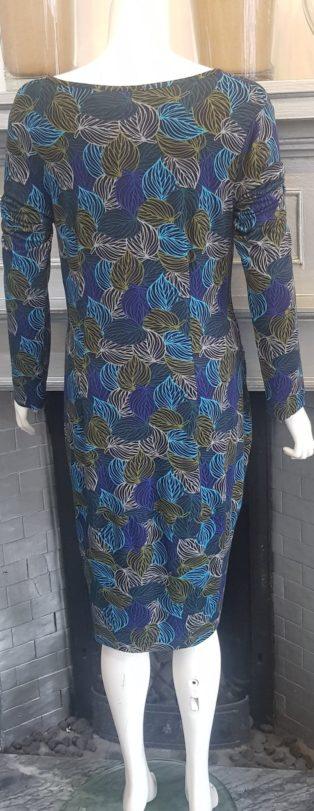 Capri- Leaf Pattern Dress – Turquoise