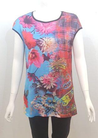 Pomodoro – Flower Print Tunic – Red Multi