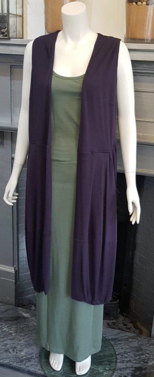 Capri – Long Sleeveless Waistcoat – Charcoal