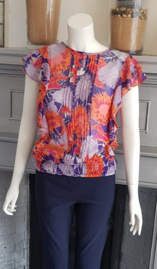 Adini – Brittany Top/Blouse-Amethyst & Coral Print