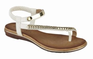 Cipriata – Jewelled Halter Back Toe PostSandal – White
