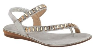 Cipriata – Jewelled Halter Back Toe Post Sandal – Silver